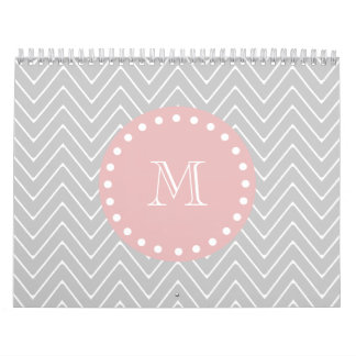Gray Baby Pink Modern Chevron Custom Monogram Wall Calendars