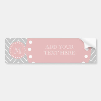 Gray & Baby Pink Modern Chevron Custom Monogram Car Bumper Sticker