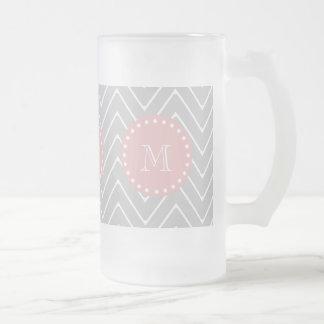 Gray & Baby Pink Modern Chevron Custom Monogram Frosted Glass Beer Mug