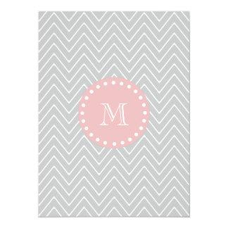 Gray & Baby Pink Modern Chevron Custom Monogram 5.5x7.5 Paper Invitation Card