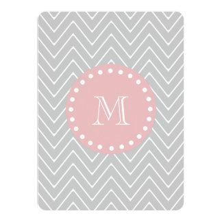 Gray Baby Pink Modern Chevron Custom Monogram 5.5x7.5 Paper Invitation Card