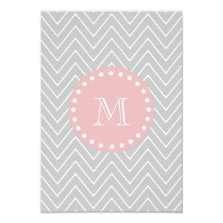 Gray & Baby Pink Modern Chevron Custom Monogram 3.5x5 Paper Invitation Card