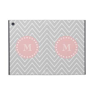 Gray Baby Pink Modern Chevron Custom Monogram iPad Mini Cover