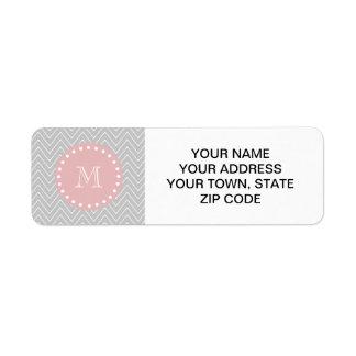 Gray Baby Pink Modern Chevron Custom Monogram Label