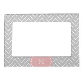 Gray Baby Pink Modern Chevron Custom Monogram Magnetic Frame