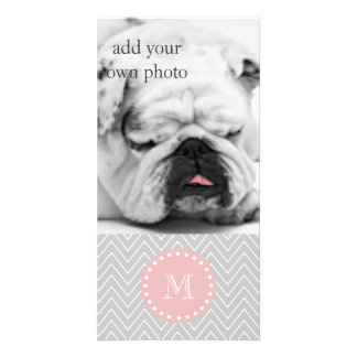Gray Baby Pink Modern Chevron Custom Monogram Photo Card