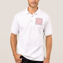 Gray & Baby Pink Modern Chevron Custom Monogram Polo Shirt