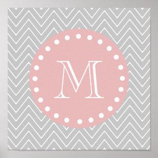 Gray Baby Pink Modern Chevron Custom Monogram Poster