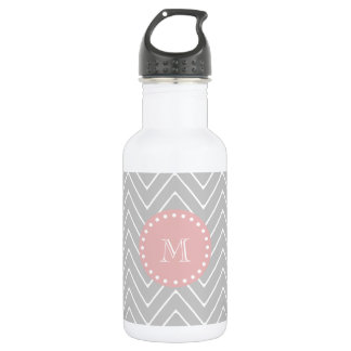Gray & Baby Pink Modern Chevron Custom Monogram Stainless Steel Water Bottle