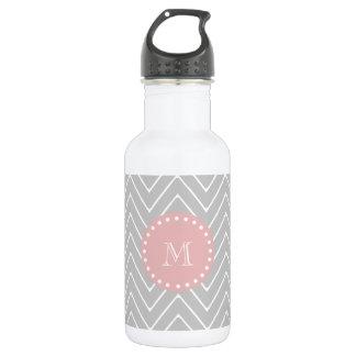 Gray & Baby Pink Modern Chevron Custom Monogram Stainless Steel Water Bottle