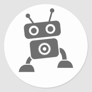 Gray Baby Robot Thank You Cards Sticker