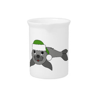 Gray Baby Seal with Christmas Green Santa Hat Drink Pitchers