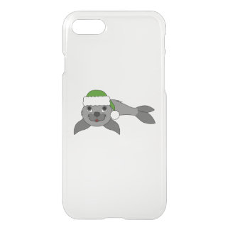 Gray Baby Seal with Christmas Green Santa Hat iPhone 8/7 Case