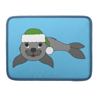 Gray Baby Seal with Christmas Green Santa Hat MacBook Pro Sleeves
