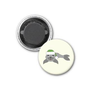 Gray Baby Seal with Christmas Green Santa Hat Magnet