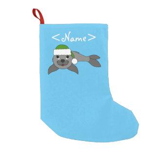 Gray Baby Seal with Christmas Green Santa Hat Small Christmas Stocking