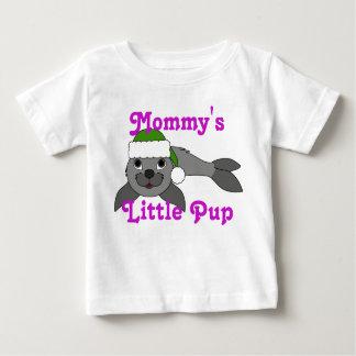 Gray Baby Seal with Christmas Green Santa Hat T Shirt