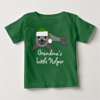 Gray Baby Seal with Christmas Green Santa Hat T-shirt