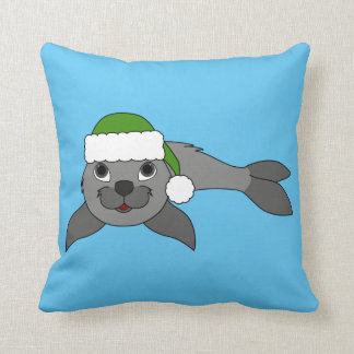 Gray Baby Seal with Christmas Green Santa Hat Throw Pillow
