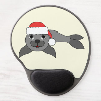 Gray Baby Seal with Christmas Red Santa Hat Gel Mouse Pad