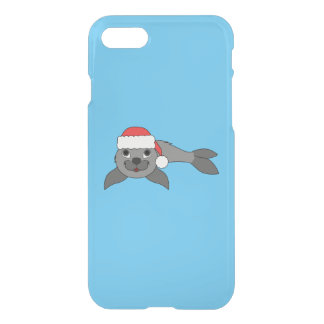Gray Baby Seal with Christmas Red Santa Hat iPhone 8/7 Case