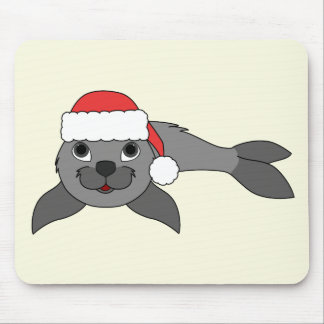 Gray Baby Seal with Christmas Red Santa Hat Mouse Pad