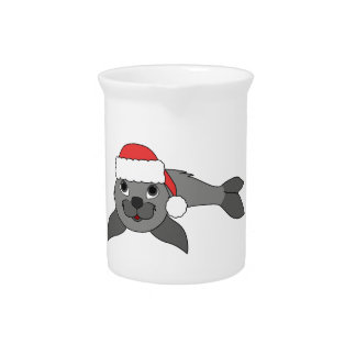 Gray Baby Seal with Christmas Red Santa Hat Pitchers