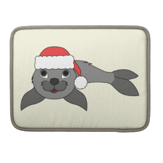 Gray Baby Seal with Christmas Red Santa Hat Sleeves For MacBooks