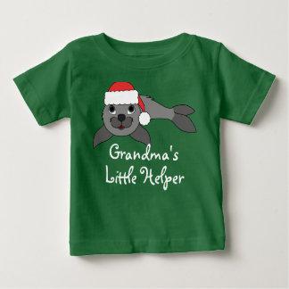 Gray Baby Seal with Christmas Red Santa Hat Tee Shirt