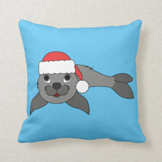 Gray Baby Seal with Christmas Red Santa Hat Throw Pillow