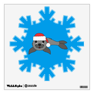Gray Baby Seal with Christmas Red Santa Hat Wall Sticker