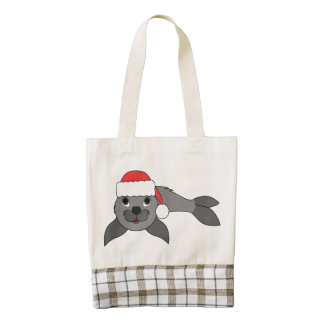 Gray Baby Seal with Christmas Red Santa Hat Zazzle HEART Tote Bag