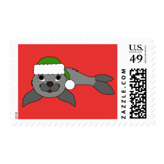 Gray Baby Seal with Green Santa Hat Postage