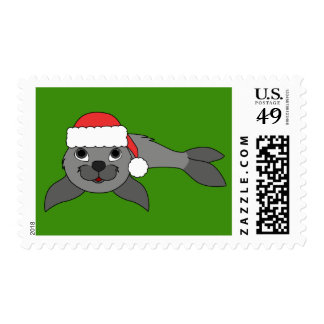 Gray Baby Seal with Red Santa Hat Postage