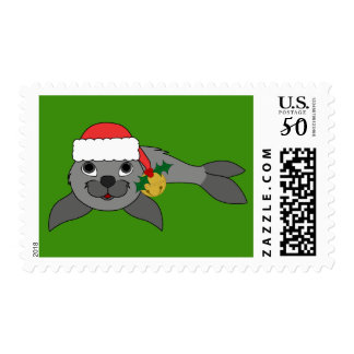 Gray Baby Seal with Santa Hat & Gold Bell Postage