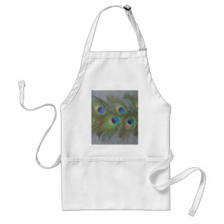 Gray Background Peacock Feathers Adult Apron