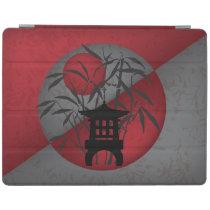 Gray bamboo red moon mini pagoda iPad smart cover