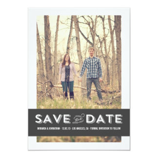 """Gray Banner Photo Save The Date Announcements 5"""" X 7"""" Invitation Card"""