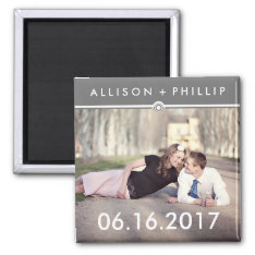 Gray Banner Save The Date Photo Wedding Magnets at Zazzle