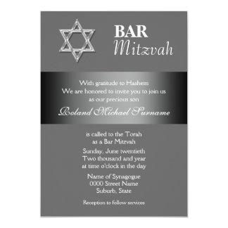 "Gray bar mitzvah celebrations 5"" x 7"" invitation card"
