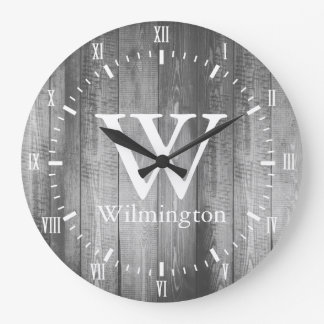 Gray Barn Wood Planks White Roman Numerals Name Large Clock