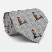 Gray Barn Wood Wild Horse in a Red Cowboy Hat Neck Tie