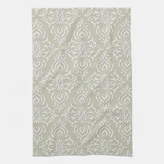 Gray Baroque Damask Elegant Towel