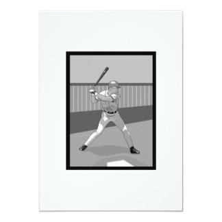 Gray Baseball Batter Logo 5x7 Paper Invitation Card
