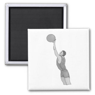 gray basketball man 2 inch square magnet