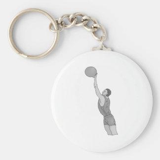 gray basketball man basic round button keychain