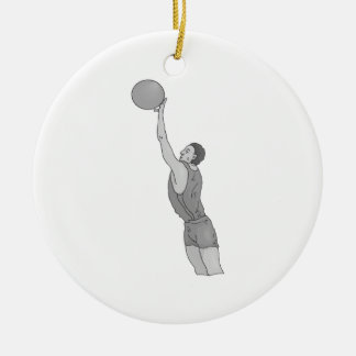 gray basketball man Double-Sided ceramic round christmas ornament