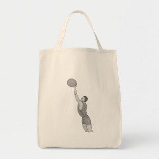 gray basketball man grocery tote bag