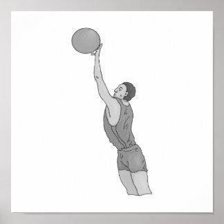 gray basketball man poster