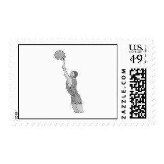 gray basketball man stamp